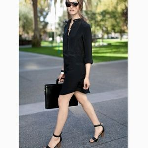 EMERSON FRY Silk Linen Bib Black Shirt Dress